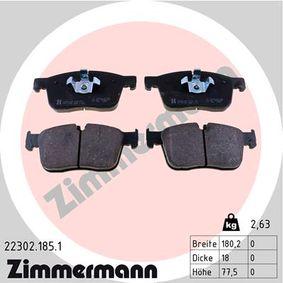 22303 ZIMMERMANN für Verschleißwarnanzeiger vorbereitet Höhe: 77,5mm, Breite: 180,1mm, Dicke/Stärke: 18,4mm Bremsbelagsatz, Scheibenbremse 22302.185.1 günstig kaufen