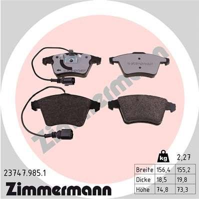 ZIMMERMANN Bremsbelagsatz, Scheibenbremse 23747.985.1