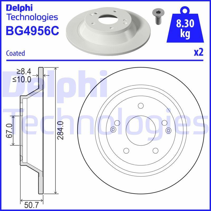 DELPHI: Original Scheibenbremsen BG4956C (Ø: 284mm, Lochanzahl: 5, Bremsscheibendicke: 10mm)