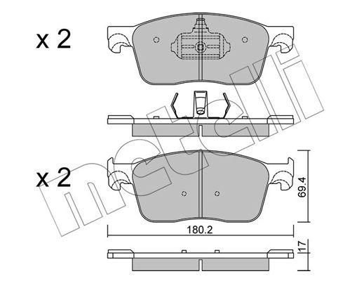 Bremsbelagsatz OPEL Zafira Life (K0) hinten + vorne 2020 - METELLI 22-1107-0 (Dicke/Stärke 1: 17,0mm)