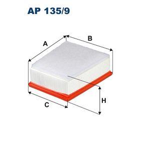 AP 135/9 FILTRON Länge: 219mm, Breite 1: 193,5mm, Breite 2: 155,5mm, Höhe: 84,5mm Luftfilter AP 135/9 günstig kaufen