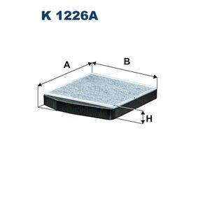 K 1226A FILTRON Breite: 250mm, Höhe: 38mm, Länge: 278mm Filter, Innenraumluft K 1226A günstig kaufen