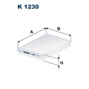 K 1230 FILTRON Breite: 152mm, Höhe: 30mm, Länge: 236mm Filter, Innenraumluft K 1230 günstig kaufen