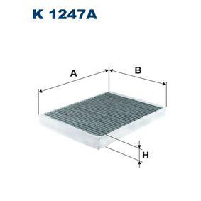 K 1247A FILTRON Breite: 197mm, Höhe: 30mm, Länge: 265mm Filter, Innenraumluft K 1247A günstig kaufen