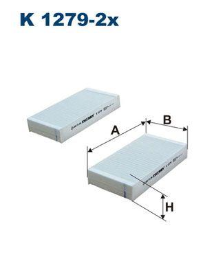 K 1279-2x FILTRON Breite: 95mm, Höhe: 30mm, Länge: 181mm Filter, Innenraumluft K 1279-2x günstig kaufen