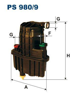 PS 980/9 FILTRON Leitungsfilter, mit Anschluss für Wassersensor Höhe: 181,5mm Kraftstofffilter PS 980/9 günstig kaufen