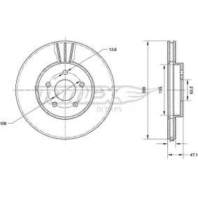 7044 TOMEX brakes Vorderachse, belüftet, lackiert Ø: 300mm, Lochanzahl: 5, Bremsscheibendicke: 24mm Bremsscheibe TX 70-44 günstig kaufen