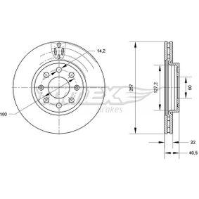 7085 TOMEX brakes Vorderachse, belüftet, lackiert Ø: 257mm, Lochanzahl: 6, Bremsscheibendicke: 22mm Bremsscheibe TX 70-85 günstig kaufen
