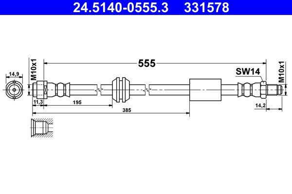 MERCEDES-BENZ R-Klasse 2016 Bremsschläuche - Original ATE 24.5140-0555.3 Länge: 555mm, Innengewinde: M10x1mm, Außengewinde: M10x1mm