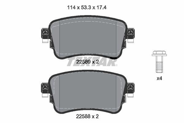 Bremssteine OPEL Zafira Life (K0) hinten + vorne 2021 - TEXTAR 2258801 (Höhe: 53,3mm, Breite: 114mm, Dicke/Stärke: 17,4mm)