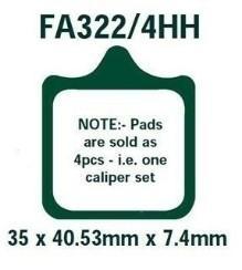 Sada brzdových destiček, kotoučová brzda FA322/4HH ve slevě – kupujte ihned!