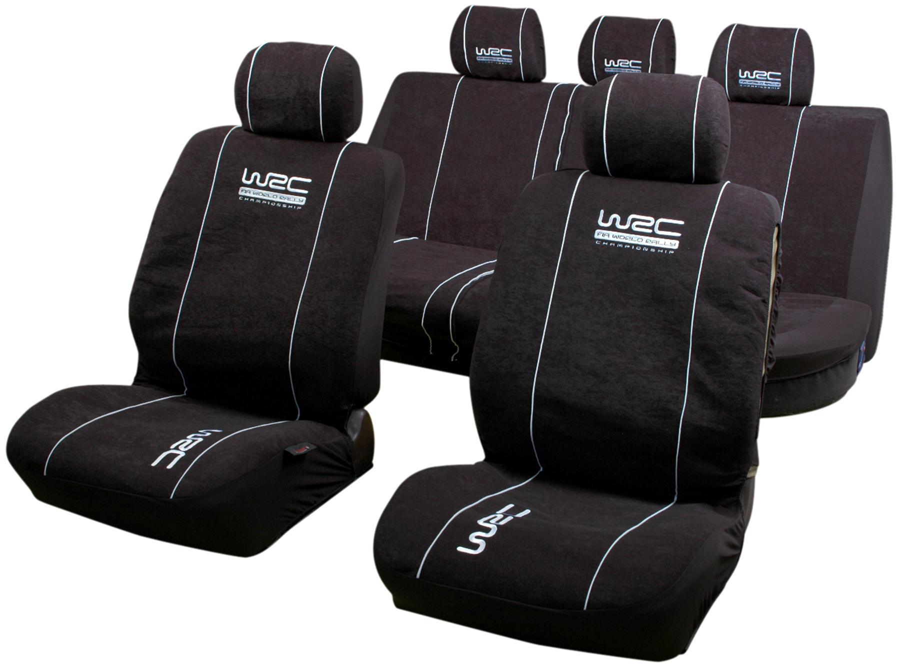 Comprare 007338 WRC nero, Fantasia, Poliestere, anteriore e posteriore Numero pezzi: 11pz. Coprisedile 007338 poco costoso