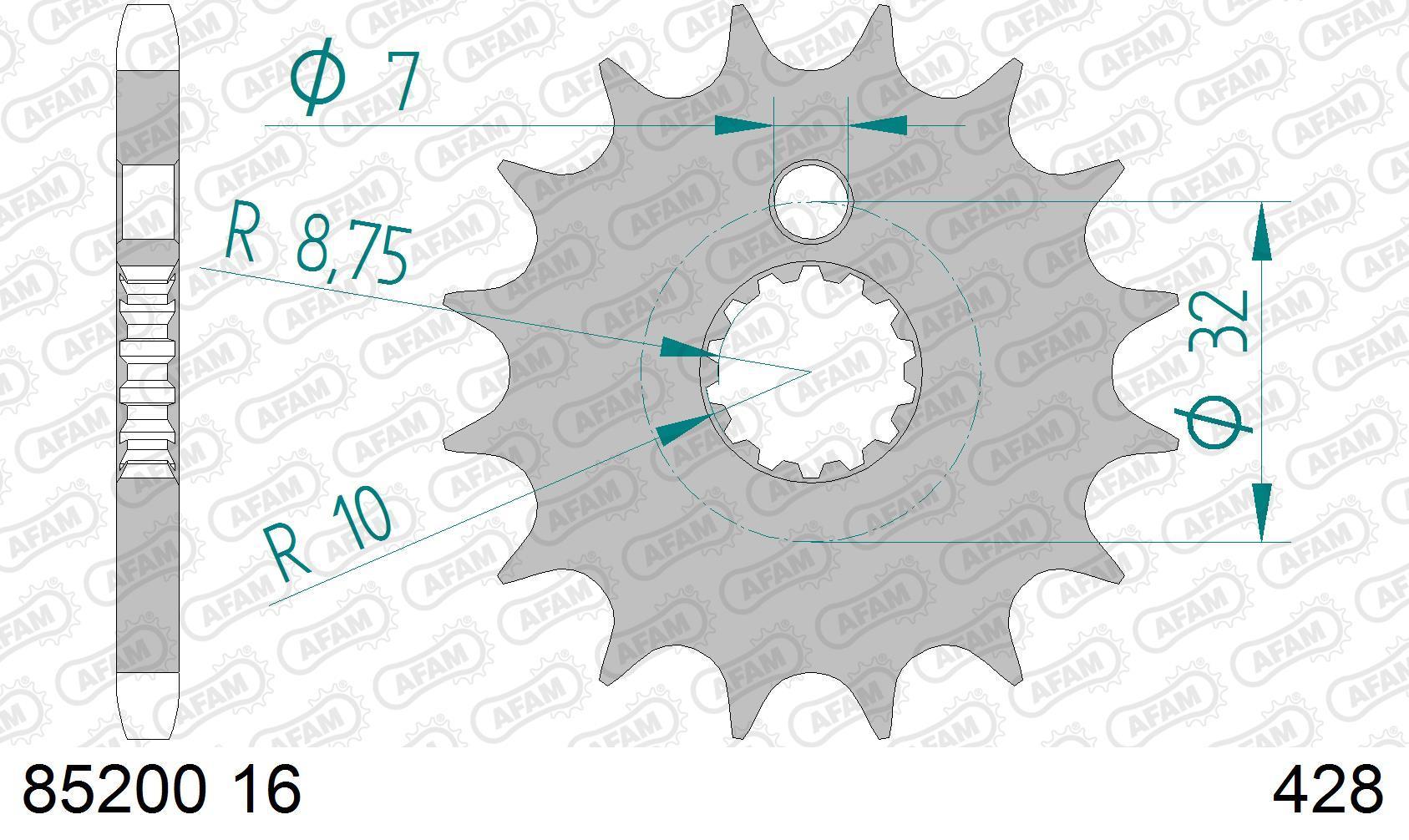 AFAM Koło łańcuchowe małe napędzające 85200-16 MZ