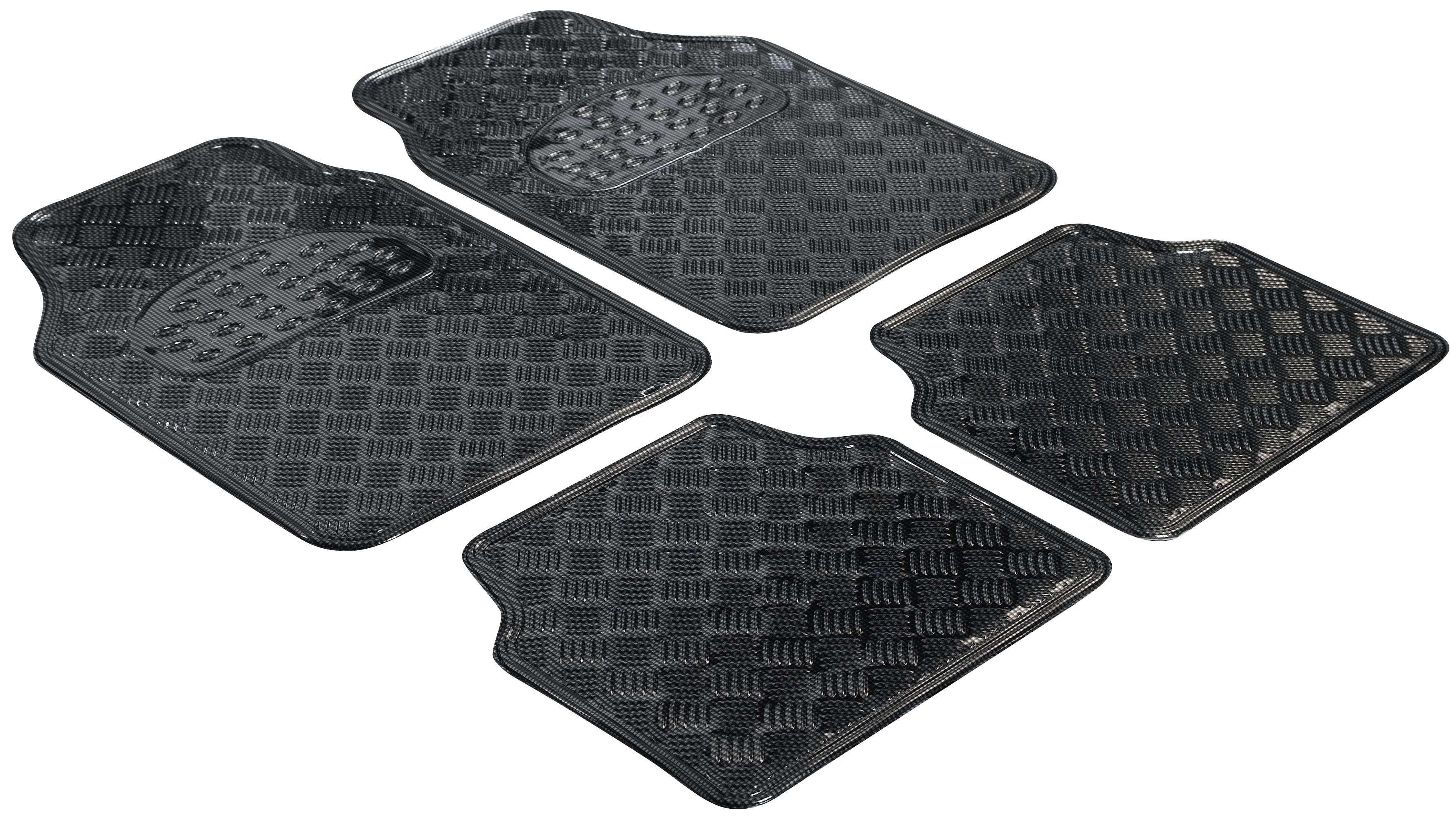 28031 WALSER Metallic , Universeel geschikt Rubber, voor en achter, Aantal: 4, Chroom Grootte: 44.5 x 68.5, Grootte: 44.5 x 40 Vloermatset 28031