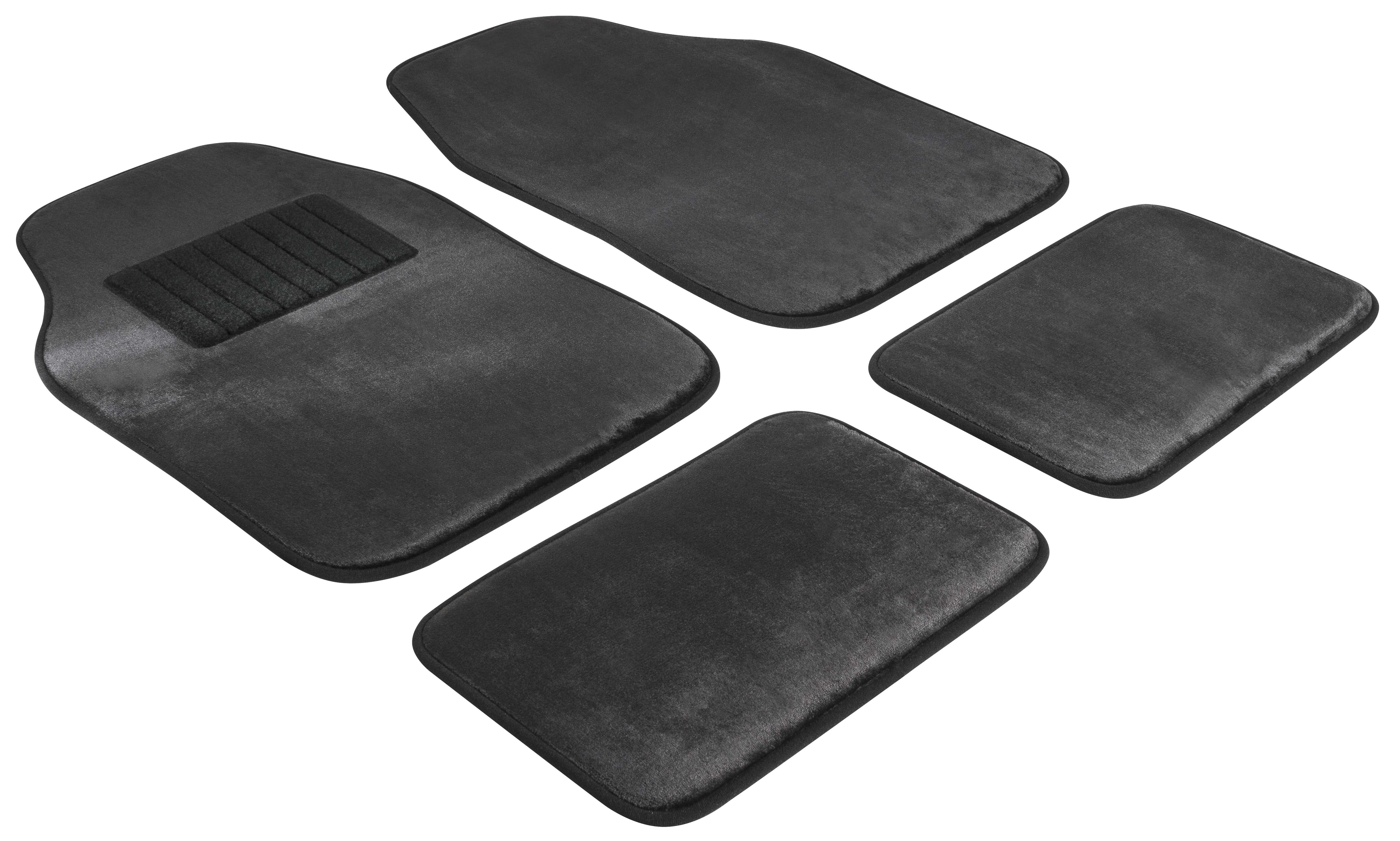 29045 WALSER Universeel geschikt, Washer Velor 8 mm, Textiel, voor en achter, Aantal: 4, Zwart Vloermatset 29045