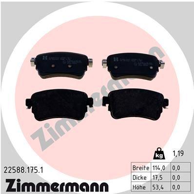 ZIMMERMANN Bremsbelagsatz, Scheibenbremse 22588.175.1