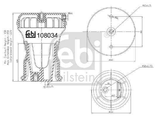 VW AMAROK Federbalg, Luftfederung - Original FEBI BILSTEIN 108034