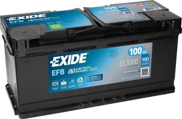 EXIDE Autobaterie 12V 100Ah 850A B13 EFB baterie EL1000 HONDA