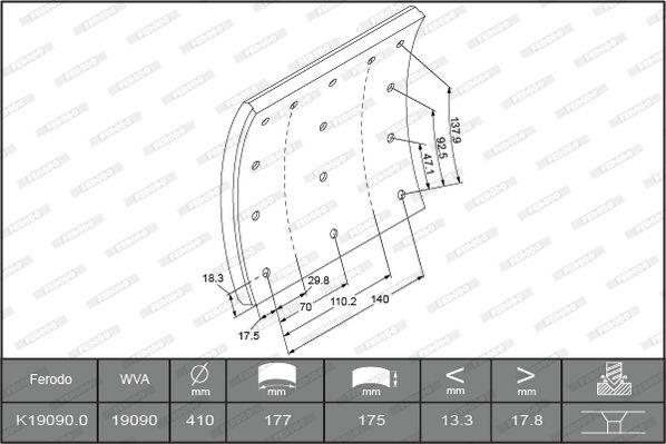 Bremsbelagsatz, Trommelbremse FERODO K19090.0-F3526 mit 18% Rabatt kaufen
