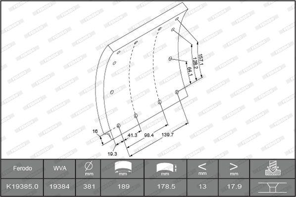 Bremsbelagsatz, Trommelbremse FERODO K19385.0-F3652 mit 15% Rabatt kaufen