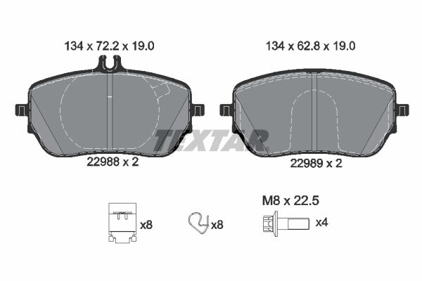Scheibenbremsbeläge Mercedes W177 hinten + vorne 2019 - TEXTAR 2298801 (Höhe: 72,2mm, Breite: 134mm, Dicke/Stärke: 19mm)