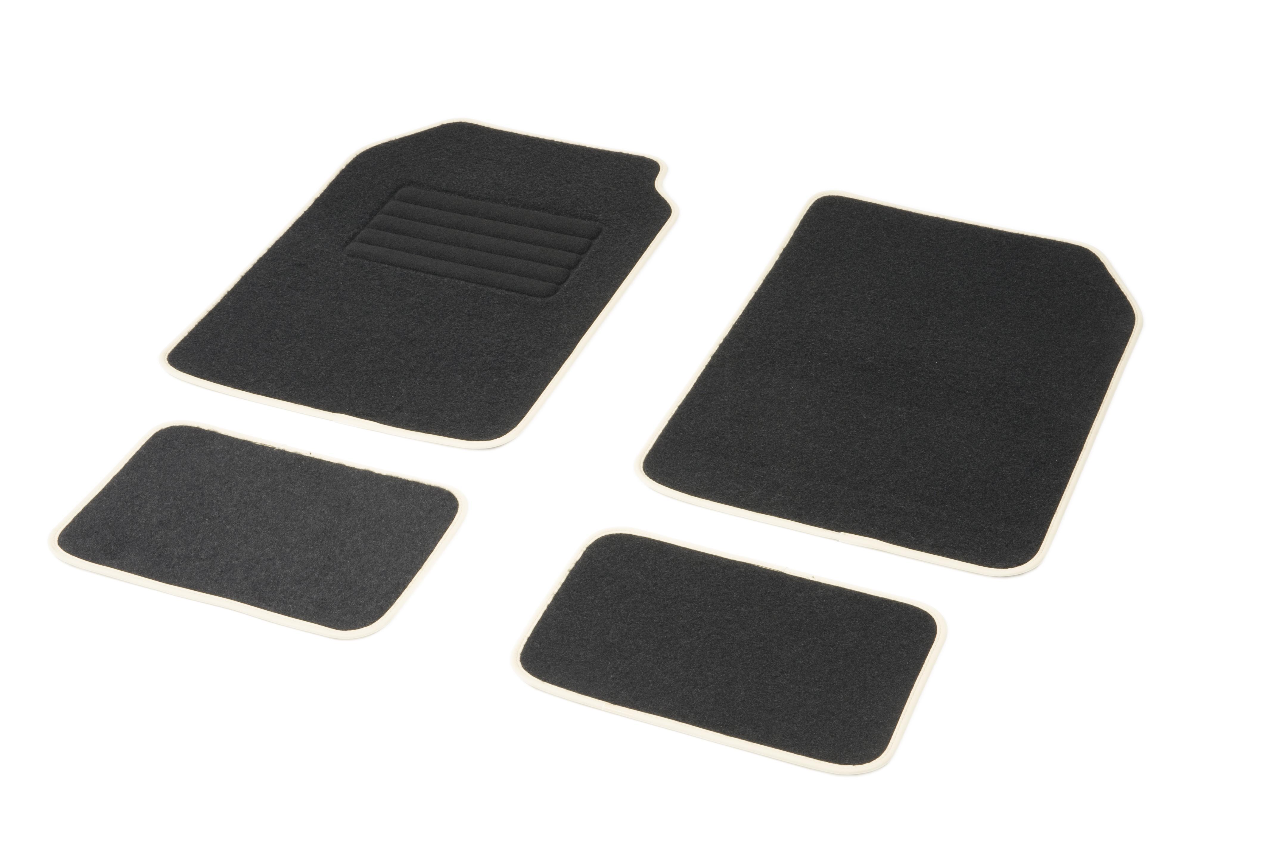 01765762 DBS Universeel geschikt, STANDARD Textiel, voor en achter, Aantal: 4, Wit, Zwart Grootte: 73х46 Vloermatset 01765762