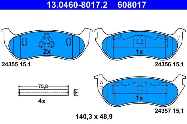 24357 ATE exkl. Verschleißwarnkontakt, nicht für Verschleißwarnanzeiger vorbereitet, mit Zubehör Höhe: 48,9mm, Breite: 140,3mm, Dicke/Stärke: 15,1mm Bremsbelagsatz, Scheibenbremse 13.0460-8017.2 günstig kaufen