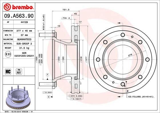 09.A563.90 BREMBO Bremsscheibe billiger online kaufen