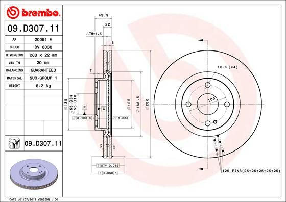 MAZDA MX 2019 Tuning - Original BREMBO 09.D307.11 Ø: 280mm, Lochanzahl: 4, Bremsscheibendicke: 22mm