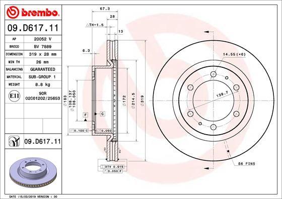 Disco freno BREMBO 09.D617.11 Recensioni
