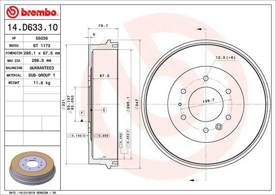 Tambour de frein BREMBO pour VOLVO, n° d'article 14.D633.10