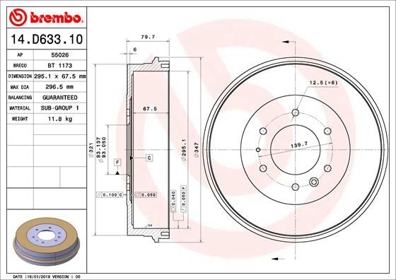Compre BREMBO Tambor de travão 14.D633.10 caminhonete