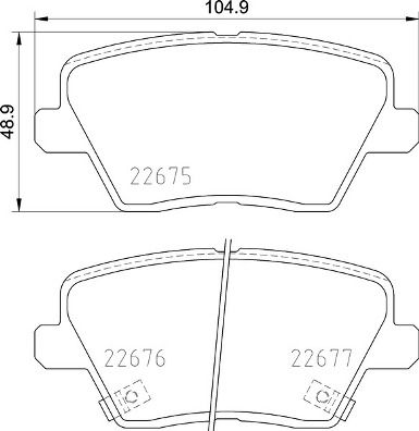 KIA XCEED 2020 Bremsbelagsatz - Original BREMBO P 30 109 Höhe: 49mm, Breite: 104,7mm, Dicke/Stärke: 15,5mm