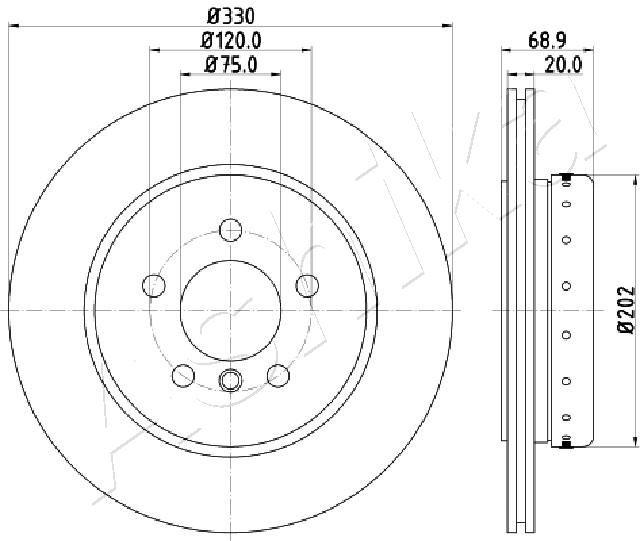 ASHIKA Brake Disc 61-00-0123