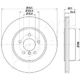 61-00-0124 ASHIKA Innenbelüftet Ø: 345mm, Bremsscheibendicke: 24,0mm Bremsscheibe 61-00-0124 günstig kaufen