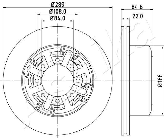 61-00-0222 ASHIKA Voll Ø: 289mm, Lochanzahl: 8, Bremsscheibendicke: 22mm Bremsscheibe 61-00-0222 günstig kaufen