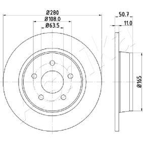 61-00-0302 ASHIKA Voll Ø: 280mm, Lochanzahl: 5, Bremsscheibendicke: 11mm Bremsscheibe 61-00-0302 günstig kaufen