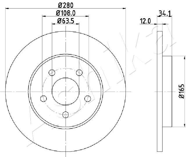 61-00-0309 ASHIKA Voll Ø: 280mm, Lochanzahl: 5, Bremsscheibendicke: 12mm Bremsscheibe 61-00-0309 günstig kaufen