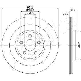 61-00-0316 ASHIKA belüftet Ø: 326mm, Lochanzahl: 5, Bremsscheibendicke: 20mm Bremsscheibe 61-00-0316 günstig kaufen