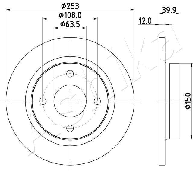 61-00-0329 ASHIKA Hinterachse, Voll Ø: 252,8mm, Bremsscheibendicke: 12mm Bremsscheibe 61-00-0329 günstig kaufen