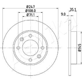 61-00-0602 ASHIKA Voll Ø: 247mm, Lochanzahl: 4, Bremsscheibendicke: 9mm Bremsscheibe 61-00-0602 günstig kaufen