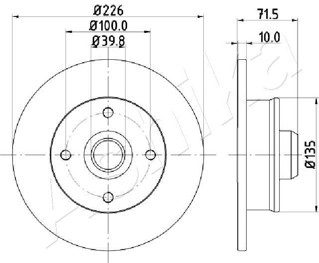 Achetez Disques de frein ASHIKA 61-00-0922 (Ø: 226mm, Nbre de trous: 4, Épaisseur du disque de frein: 10mm) à un rapport qualité-prix exceptionnel