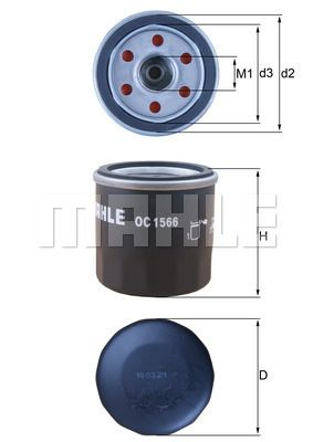 OC 1566 Oil Filter MAHLE ORIGINAL original quality