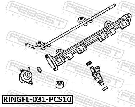 FEBEST | Dichtung, Kraftstoffleitung RINGFL-031-PCS10