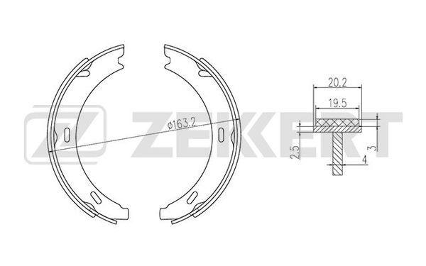 MERCEDES-BENZ SLK 2006 Bremsklötze für Trommelbremse - Original ZEKKERT BK-4336 Breite: 20,2mm
