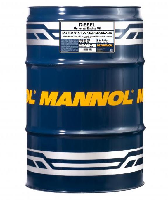 MN7402-60 MANNOL DIESEL 15W-40, 15W-40, 60l, Mineralöl Motoröl MN7402-60 günstig kaufen