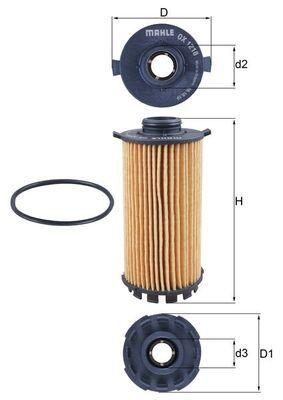 PORSCHE 718 2016 Ölfilter - Original KNECHT OX 1218D Innendurchmesser 2: 29mm, Ø: 70,0mm, Ø: 70,0mm, Höhe: 135mm, Höhe 1: 115mm