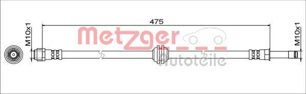 MERCEDES-BENZ MARCO POLO 2021 Bremsschläuche - Original METZGER 4111773 Länge: 475mm, Innengewinde 2: M10x1mm