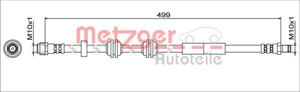 MERCEDES-BENZ EQC Bremsschlauch - Original METZGER 4111776 Länge: 499mm, Innengewinde 2: M10x1mm