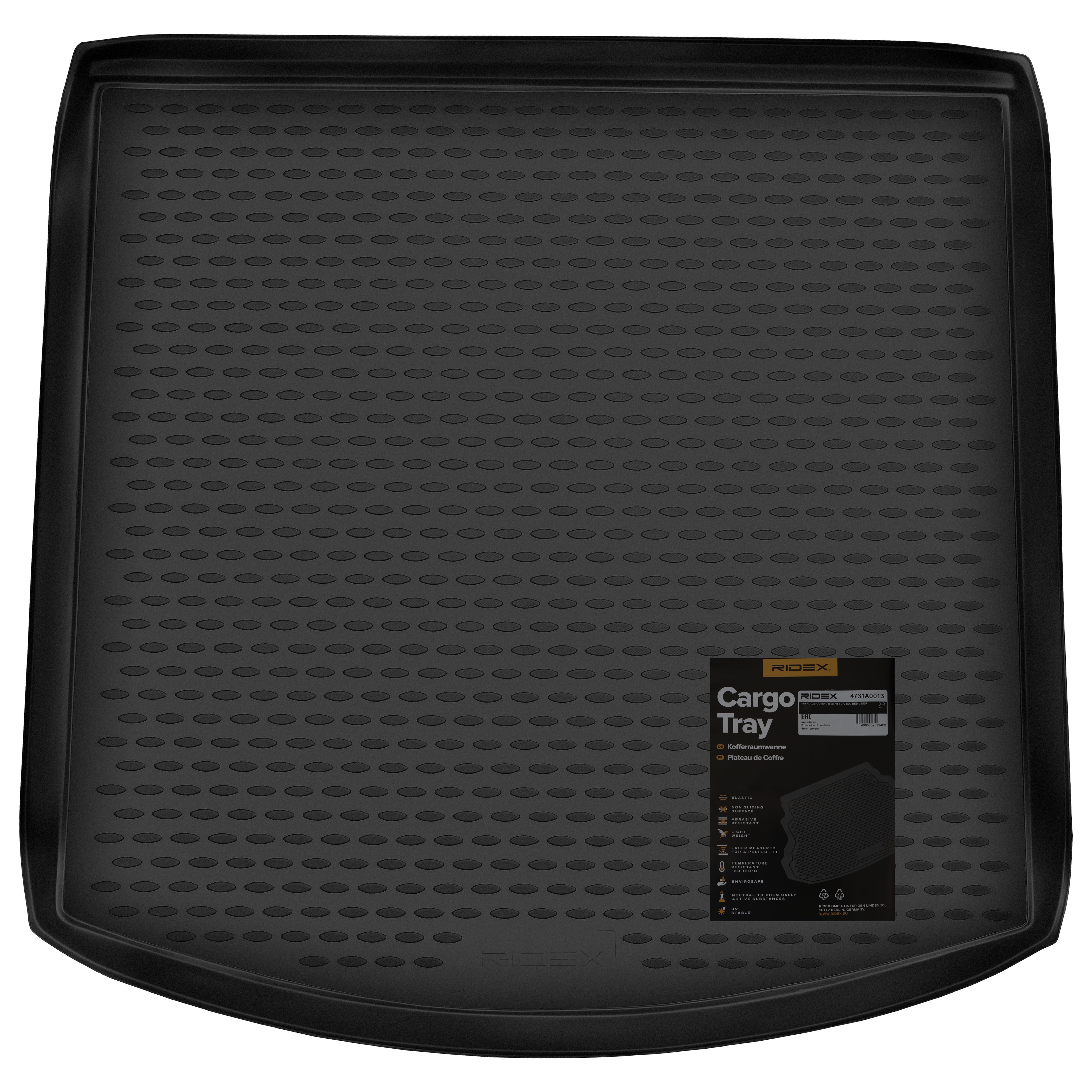 4731A0013 Dywanik bagażnika pasujące do podwyższonej / wysokiej podłogi, Bagażnik, czarny, Guma, dla pojazdów z podwójną podłogą marki RIDEX w niskiej cenie - kup teraz!